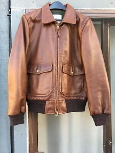 369674cef Details about Taylor Stitch Golden Bear Seca Bomber Aviator Leather Jacket  Expresso Sz Small