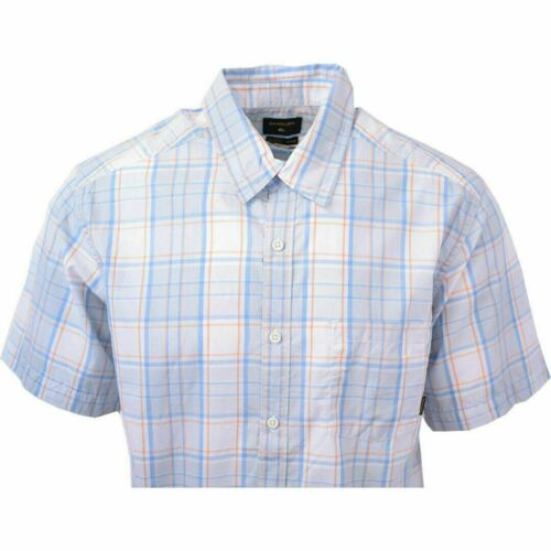 Quik Silver Men/'s Blue Grey Orange Locked Down Plaid S//S Woven Shirt