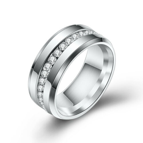 Stainless Steel Zirconia Rings for Woman Man Wedding Valentine Gift Jewelry