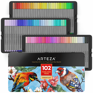 ARTEZA Fineliners Fine Point Pens Set of 102 Fine TipMarkers with 0.4mm Tips|UK