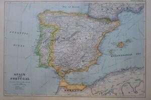 1919-MAP-SPAIN-amp-PORTUGAL-BALEARIC-ISLANDS-PALMA-TARRAGONA-MADRID-OPORTO-LISBON