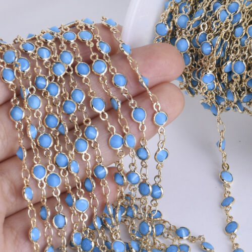1 Foot 4mm Delicate Bezel Set Crystal /& Brass Chain Opalite Glass Chains 1pcs