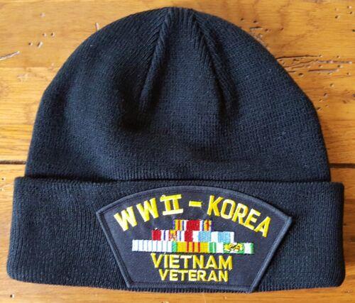 Vietnam Veteran WWII Korea Black Patch Beanie Skull Cap.