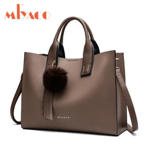 5999e85cac1 Image is loading Miyaco-Women-Leather-Handbags-Casual-Brown-Tote-bags-
