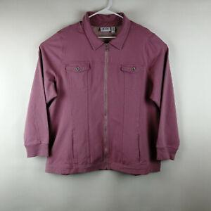 Denim & Co. Comfy Knit Denim Zip-Front Jean Jacket Rose Blush 2X  A349249
