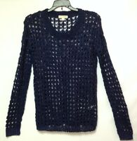 Zenana Outfitters Women's Crochet Acrylic Sleeved Sweater Top, Small, Navy Blue