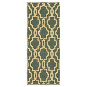 Custom-Size-Hallway-Runner-Rug-Non-Slip-Rubber-Back-Teal-Green-Moroccan-Trellis
