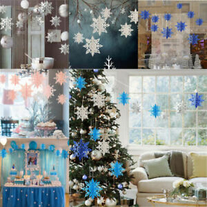 Christmas Party Decorations.Details About 6 Pcs Christmas Snowflake Party Decorations 3d White Hanging Garland Hanging