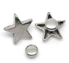 5x silberfarbene Nieten Ziernieten Schmucknieten Spikes Sterne 15 x 16 mm