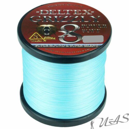 DELTEX GRIZZLY Leucht Blau 0.25mm 34,80kg 300M 8 fach Geflochtene Angelschnur