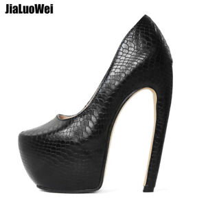7110afac2f3 Details about Fashion Nightclub Womens 18cm Super High Heel Round Toe  Snakeskin Pumps Shoes
