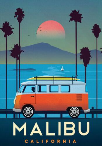 MALIBU CALIFORNIA  LARGE A3 Size CANVAS ART PRINT Retro Vintage Travel Poster