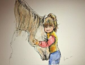 Print-from-Original-ink-amp-watercolour-painting-Little-girl-amp-horse-wall-art-A4