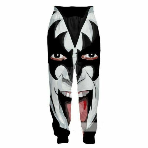 Hot Women//Men Funny Kiss Heavy Metal Rock Band Colonel 3D Print Casual Trousers