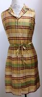 Kay Unger Silk Plaid Button Down Shirt Dress With Self Tie Size 6