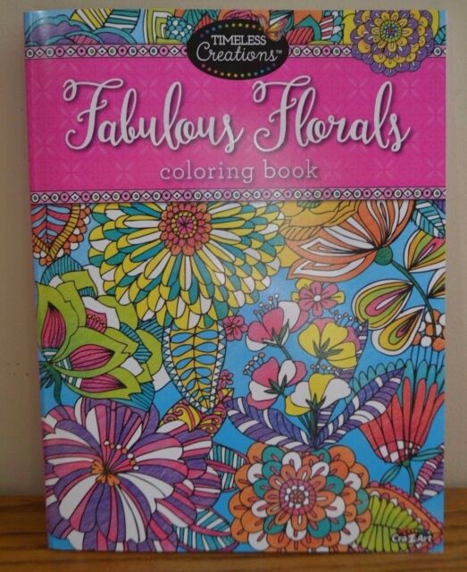 FABULOUS FLORALS FLOWER COLORING BOOK 64 PAGES RELAXING ANTI STRESS BN