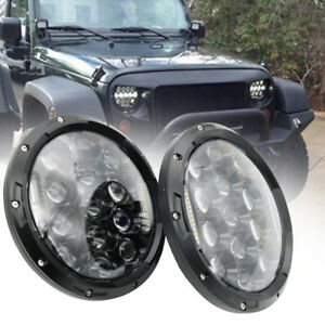 2x-7inch-H4-H13-High-Low-Beam-Round-DRL-Headlight-Offroad-LED-Driving-Light