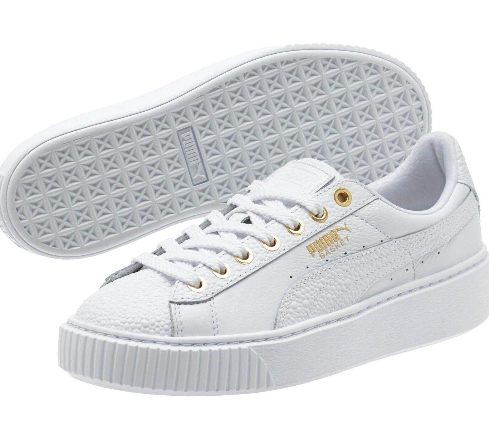 New Women's Puma Basket Platform Pearlized 364233-01 White Gold Sneaker US 10.5