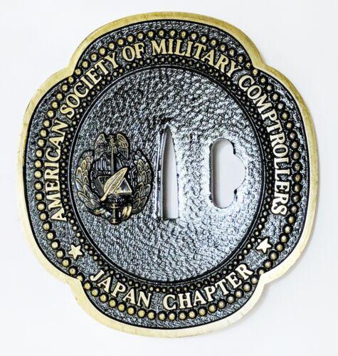 Vintage American Society of Military Comptrollers ASMC Japan Chapter Iron Tsuba