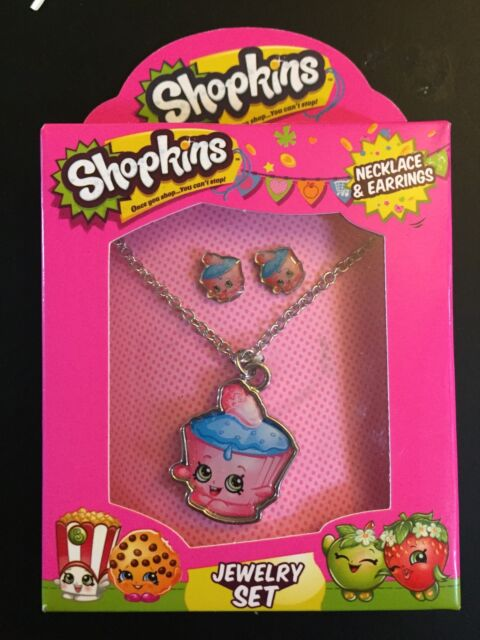 Girls Jewelry Set Bracelet /& 2 Ring Set Shopkins Glitter Pendant
