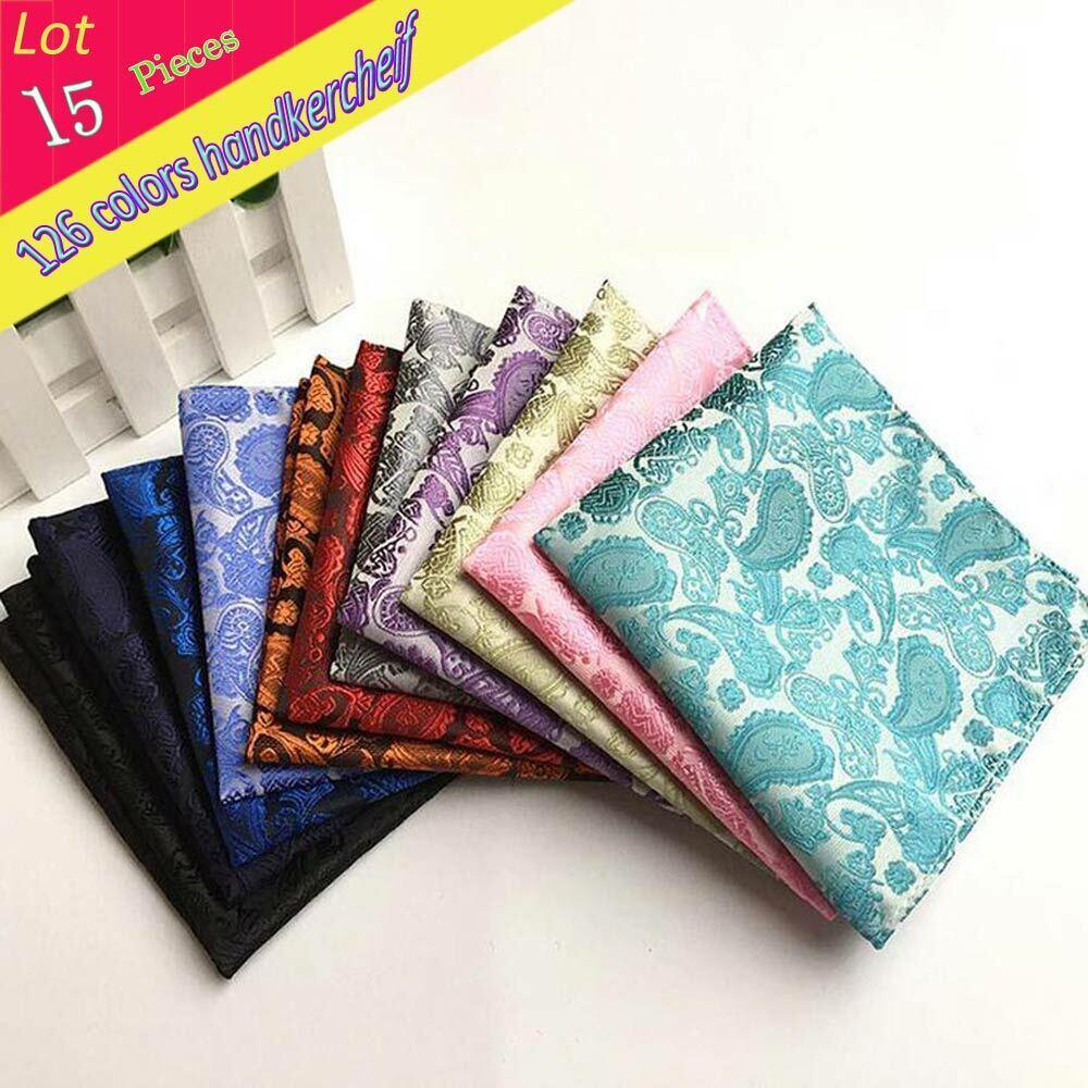 (15 Pcs/Lot) 100% Silk Men's Pocket Square Chest Towel Man PaisleyHandkerchiefs