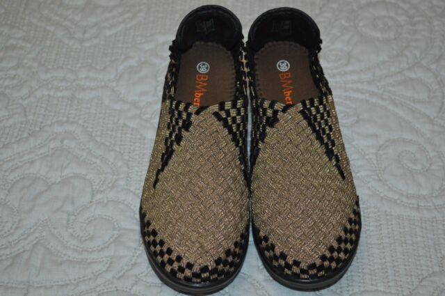 NWOB Bernie Mev BM Woven Gold-Black Platform Wedge Heel Shoes  Sz 39, US 8-8.5