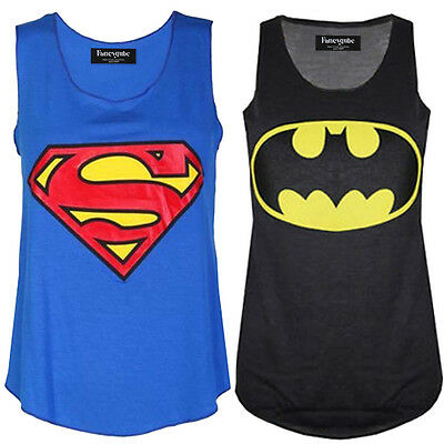 Womens Ladies Plus Size Sleeveless Superman Batman T Tee Shirt Vest Top