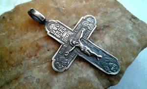 VINTAGE-STERLING-SILVER-925-ORTHODOX-CRUCIFIX-HOLY-FACE-MOTHER-OF-GOD-PSALM-68