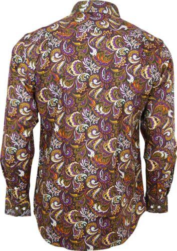 Vaillant Homme Multicolore Paisley à manches longues boutonnée Vintage Chemise 60 s
