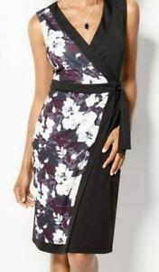 Details about Avon Pretty Floral Wrap Dress Plus Size 1X 18W 20W Black  White Vneck Sleeveless