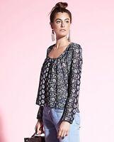 Gypsy 05 Gypsy05 Nova Navy Floral Long Sleeve Blouse W711-1184-59 Sz Xs $118
