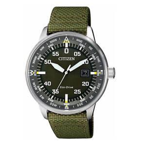 Citizen Men's Watch Solar Black Dial Green Nylon Strap Eco Drive BM7390-22X