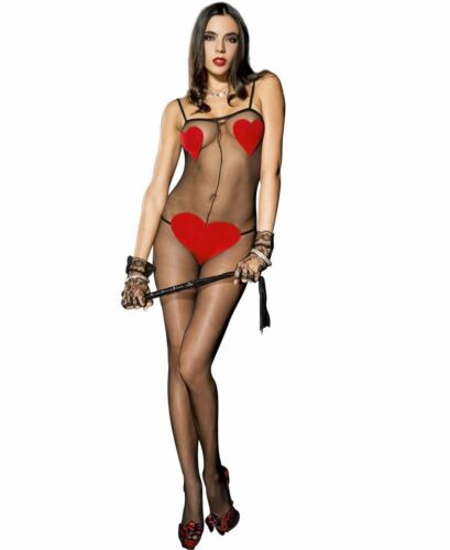 New Music Legs 1067 Sheer Bodystocking With Opaque Red Heart Details