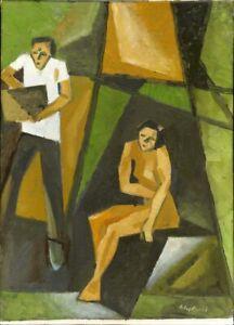 Chudinovskikh-Russischer-Expressionist-Ol-Leinwand-034-Kuenstler-und-Modell-034-55x40cm
