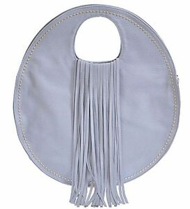 Round Handbag Purse Long Fringe Faux Leather Unique Design Blue Gray ...