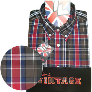 Warrior-UK-England-Button-Down-Shirt-BUSTER-Slim-Fit-Skinhead-Mod-Retro
