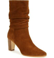 Manolo Blahnik Knight Slouch Mid Calf Boots Brown Suede 38.5 $1095