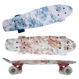 22 Cruiser Skateboard Penny Style Board Graphic Pink Blue Floral Free Shipping