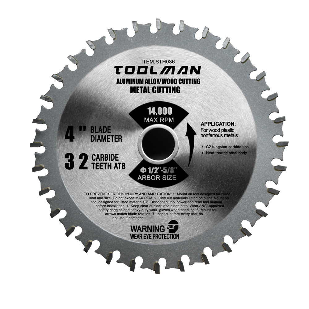 Toolman Circular Saw Blade Universal Fit 4  32T For Metal Aluminum Steel & wood