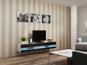 Details zu TV Board Lowboard Weiß Schwarz 180cm Hängeschrank Hochglanz  Hängend Phono