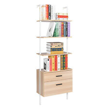 3 Tier Ladder Bookshelf Wall Mounted Storage Shelves Wood Bookcase With Drawers
