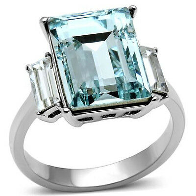 Aqua Crystal Ring w Accents 316 Stainless Steel Engagement March Birthstone
