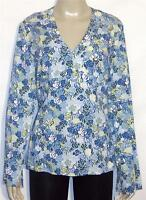 Emma James Pullover Long Sleeve V-neck Rayon Top Blue Multi 8
