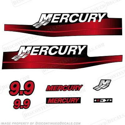 Mercury 9.9hp Outboard Decal Kit Blue or Red 9.9 1999-2006 All Models Available