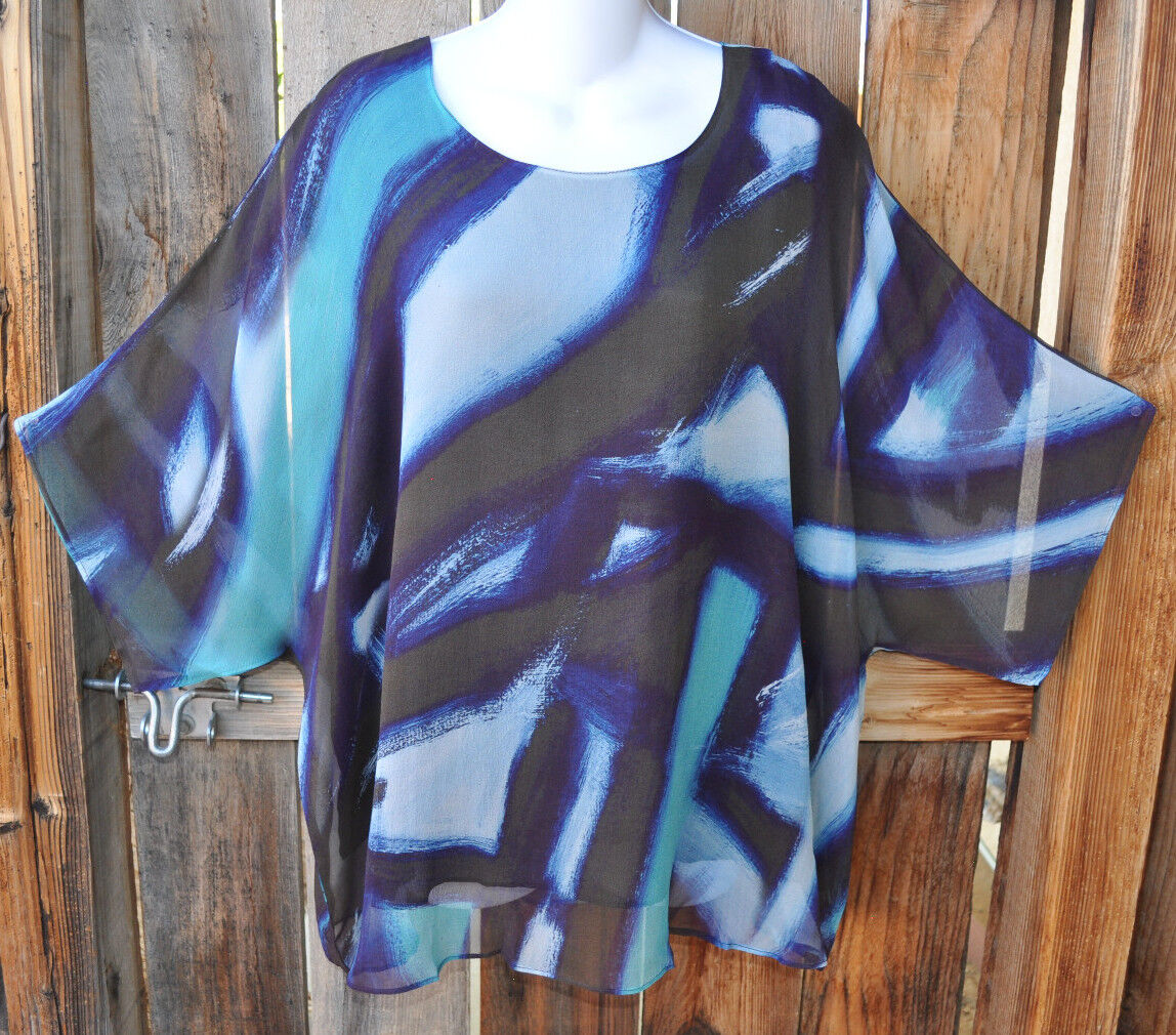 ART TO WEAR HAND MADE & ARTIST HAND PAINTED LINED ART TO WEAR SILK TUNIC, SM MED