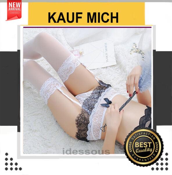 Weiß Strapshalter mit Strapse Strapsgürtel Strumpfhalter sexy Reizwäsche S M L
