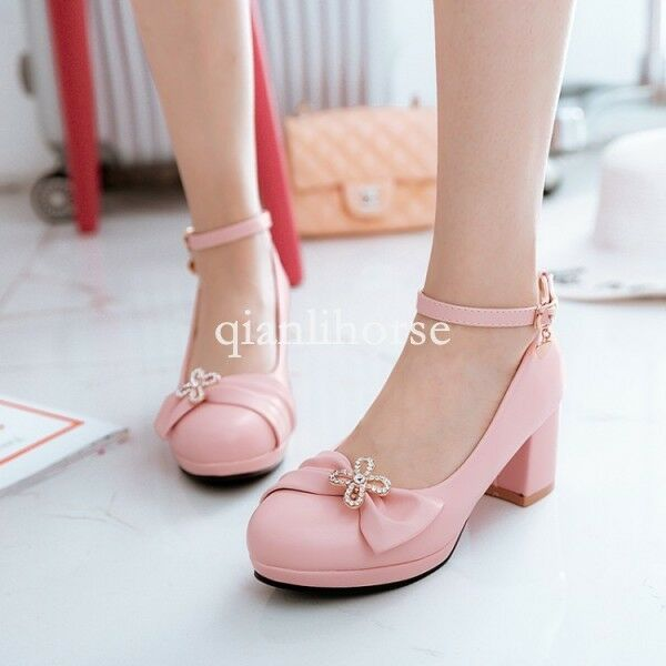 Sweet womens round toe bowknot ankle strap block mid heel Lolita shoes prom date