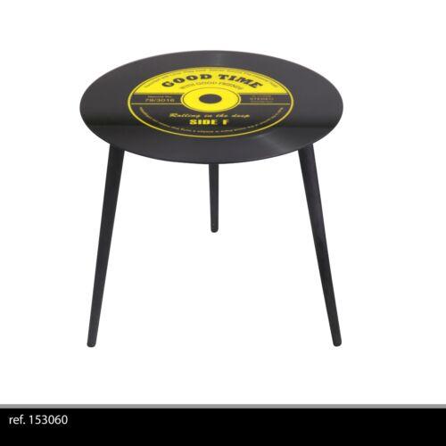 TABLE APPOINT BASSE RONDE RETRO DISQUE VINYLE VERRE ET METAL SALON DESIGN 603