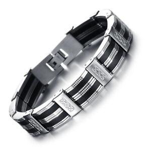 Bracciale-acciaio-uomo-braccialetto-catena-bikers-maglia-inox-piatta-21cm
