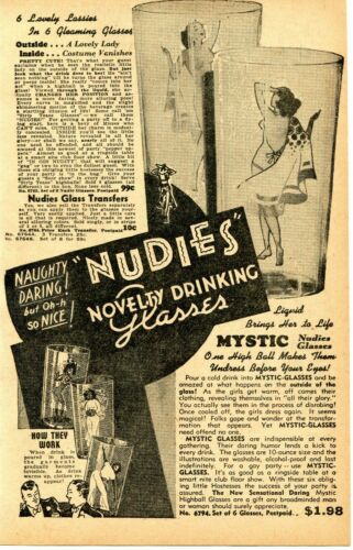 1950 small Print Ad of Mystic Nudies Novelty Drinking Glasses naughty daring